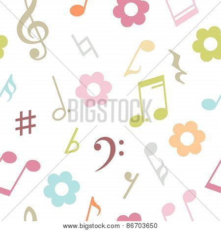 Vector seamless pattern of music notes and flowers