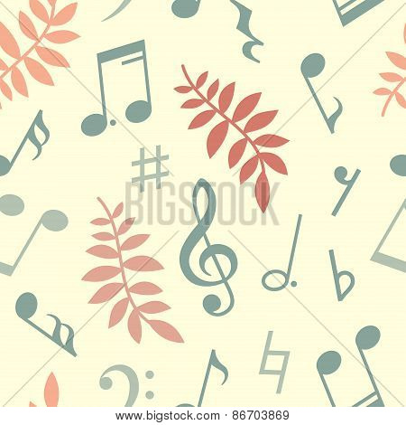 Vector seamless pattern of music notes and leaves