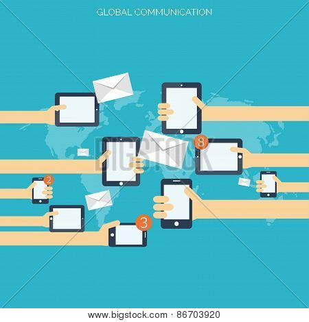 Flat social media and network concept. Global communication. Web site profile avatars. Connection be