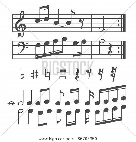 Music notes and icons vector set
