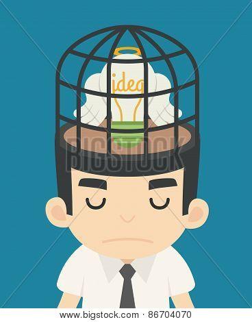 Businessman Idea Inside The Birdcage