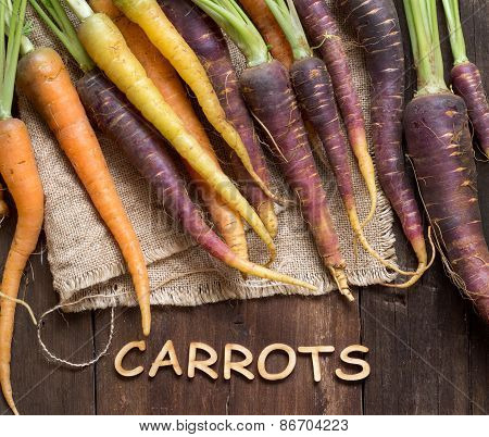 Fresh Organic Rainbow Carrots And Word Carrots