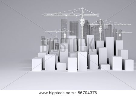 White cubes with wire-frame buildings and tower cranes