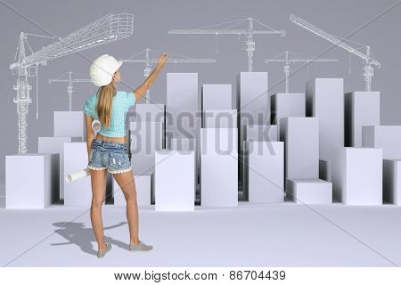 Girl holding paper scrolls. Rear view. Minimalistic city with tower cranes