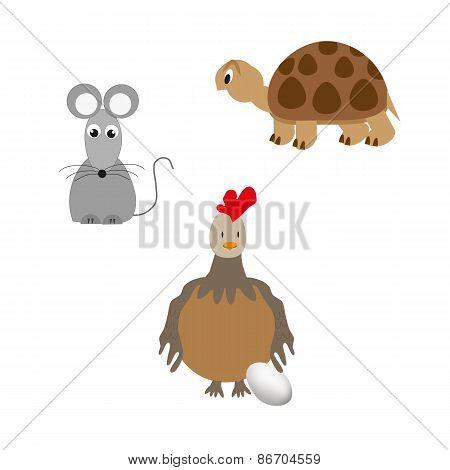 Set of animal - turtle, chicken and mouse
