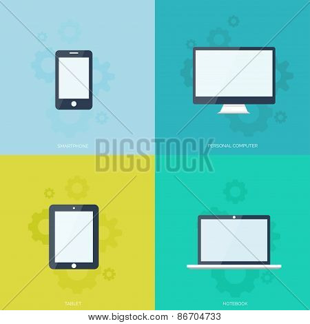 Flat mobile devices set. Computer, laptop, tablet and smartphone icon.Cloud computing.