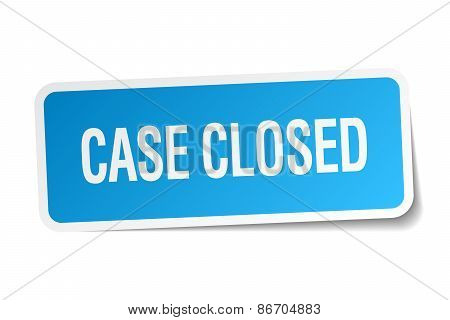 Case Closed Blue Square Sticker Isolated On White