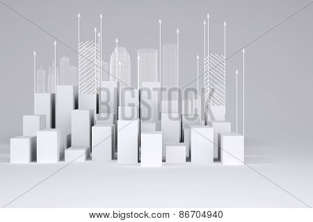 Minimalistic city of white cubes with wire-frame buildings and arrows up