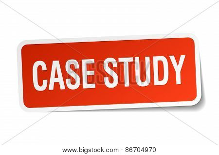 Case Study Red Square Sticker Isolated On White