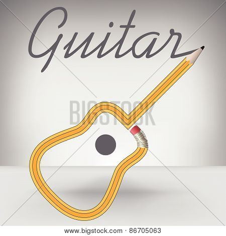 Guitar Pencil Writes its Own Name