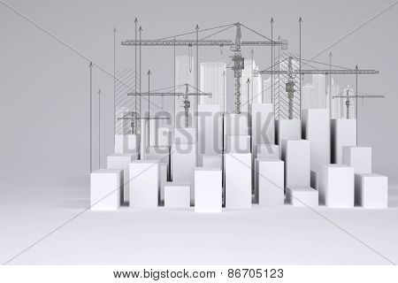 Minimalistic city of white cubes with wire-frame buildings, tower cranes and arrows up