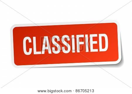 Classified Red Square Sticker Isolated On White