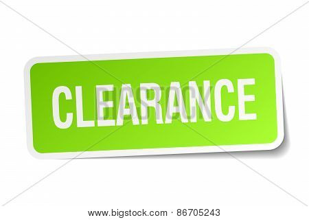 Clearance Green Square Sticker On White Background