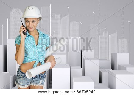 Beautiful girl holding walkie-talkie and paper scrolls. Minimalistic city with arrows