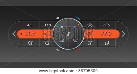 Digital Air Condition Control Panel With Orange Lcd