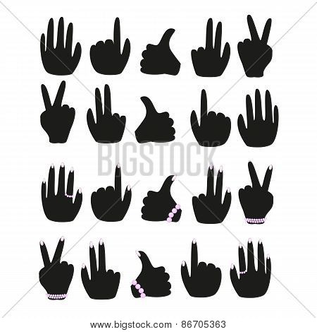 A set of male and female hands with different gestures