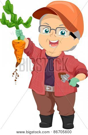 Illustration of a Proud Senior Citizen Showing the Carrot She Harvested