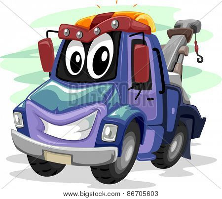 Mascot Illustration of a Tow Truck Smiling Widely