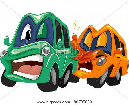 Mascot Illustration of a Pair of Cars in a Rear End Collision