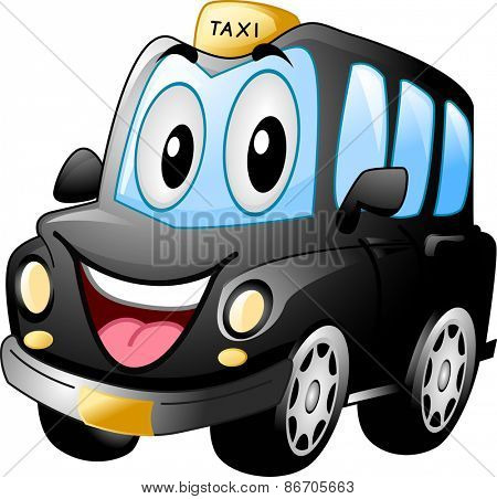 Mascot Illustration of a Black Cab Smiling Widely