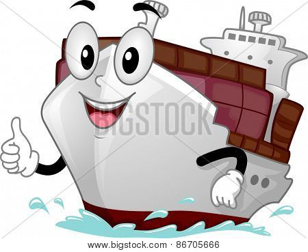 Mascot Illustration of a Cargo Ship Giving a Thumbs Up