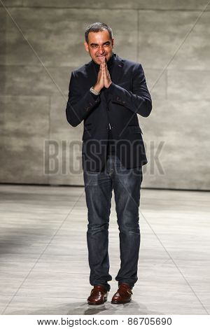 NEW YORK - FEBRUARY 18: A designer Bibhu Mohapatra walks the runway at the Bibhu Mohapatra Fall/Winter 2015 collection during Mercedes-Benz Fashion Week in New York on February 18, 2015.