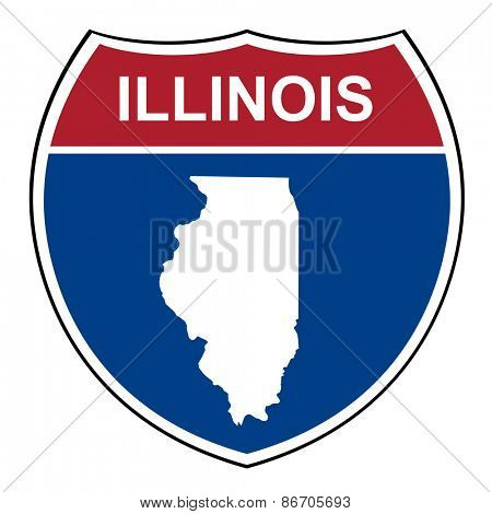Illinois American interstate highway road shield isolated on a white background.