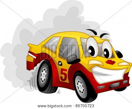 Mascot Illustration of a Car Participating in a Drifting Exhibition