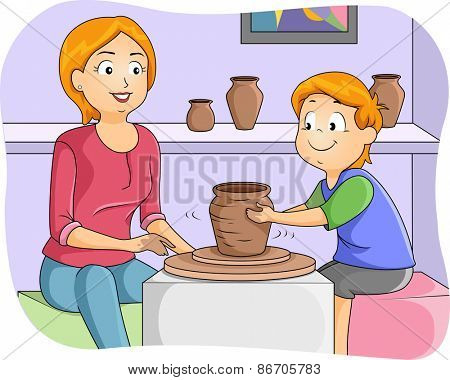 Illustration of a Little Boy Taking Pottery Lessons