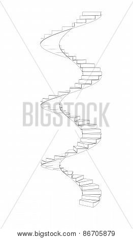 Wire-frame spiral stairs. Three full turns