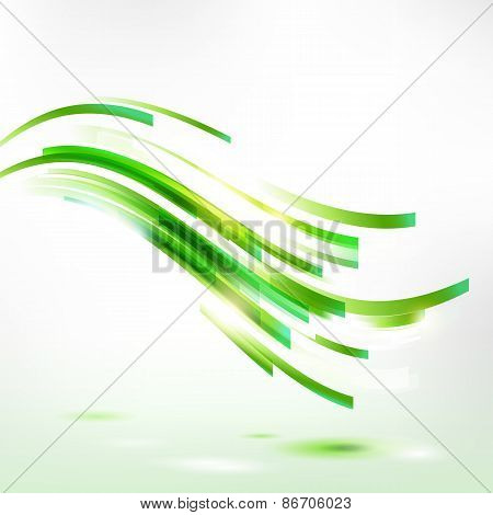 Abstract spring wave, living green lines illustration