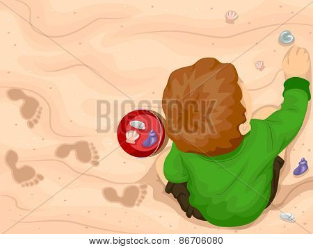 Illustration of a Little Boy Picking Seashells by the Shore