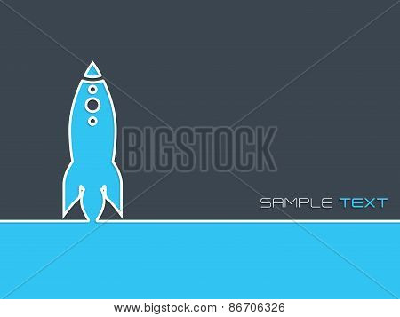 Simplistic Startup Business Background With Blue Rocket