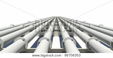 Many white industrial pipes stretching into distance. Isolated