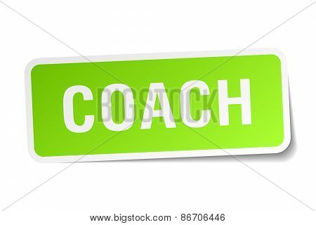 Coach Green Square Sticker On White Background