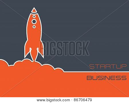 Simplistic Startup Business Background With Rocket