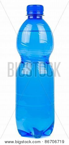 A blue bottle of mineral water