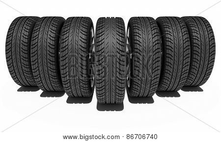 Seven car wheels. Isolated on white background