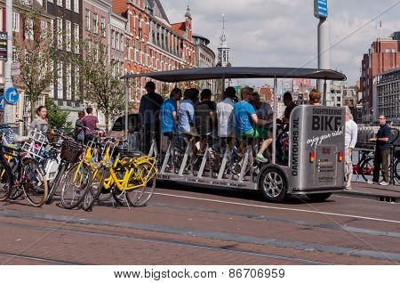 Bicycle Type Tourist Bus in Amsterdam