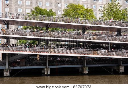 Many bicycles parked in central Amsterdam