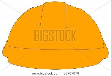 Industrial orange hard hat. Front view. Vector illustration