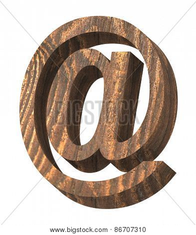 E-mail sign from old pine wood alphabet set isolated over white. Computer generated 3D photo rendering.