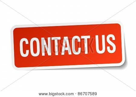 Contact Us Red Square Sticker Isolated On White