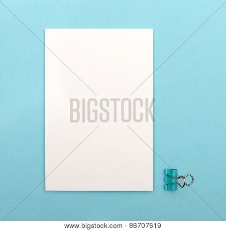 White Blank Card On A Blue Background