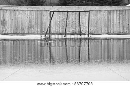 Hockey net sitting in pool of water