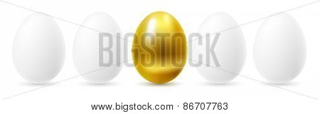 Gold egg among white eggs.