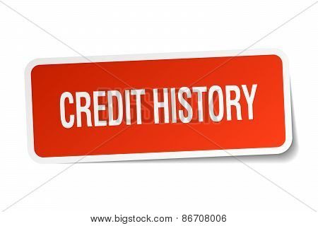 Credit History Red Square Sticker Isolated On White