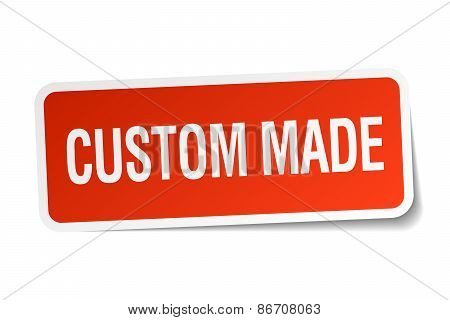Custom Made Red Square Sticker Isolated On White