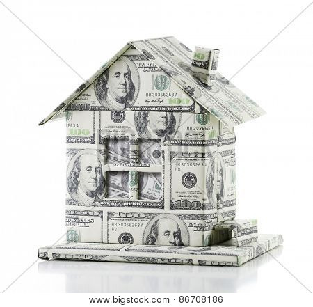Money house isolated on white