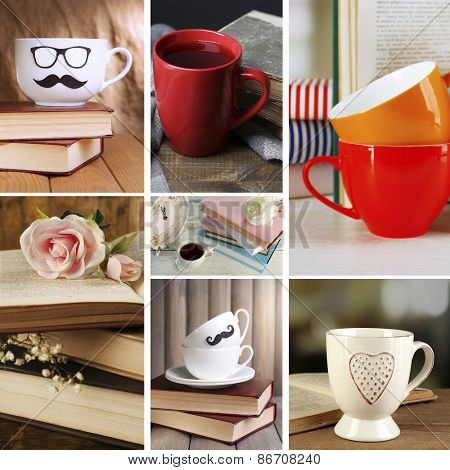 Books and cups compositions in collage